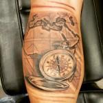 Compas tattoo leg